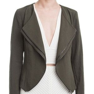 Lush green zipper draped jacket blazer career M